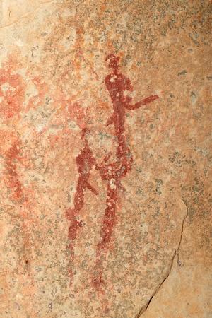 pintura rupestre: Bosquimanos - san - pinturas rupestres que representan figuras humanas, Sudáfrica