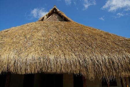 thatched: Traditional African thatched roof against a blue sky with clouds