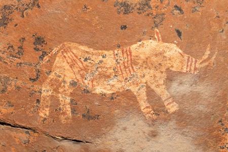 rock painting: Bushmen - san - rock painting depicting a rhinoceros, Drakensberg mountains, South Africa