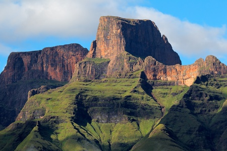 Sentinal peak in the amphiteater of the Drakensberg mountains, Royal Natal National Park, South Africa photo