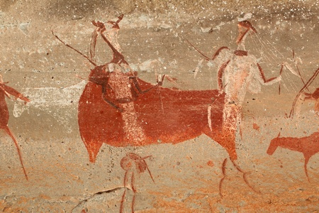 wall paintings: Bushmen - san - rock painting of human figures and antelopes, Drakensberg mountains, South Africa LANG_EVOIMAGES