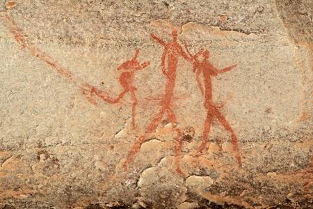 rock painting: Bushmen - san - rock painting depicting human figures, Drakensberg mountains, South Africa