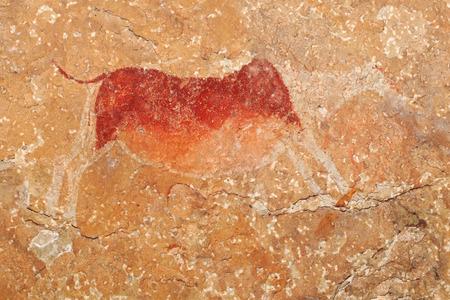 rock painting: Bushmen - san - rock painting of an antelope, Drakensberg mountains, South Africa