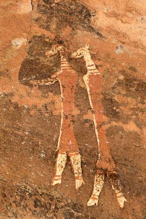 pintura rupestre: Bosquimanos - san - pintura rupestre, las montañas de Drakensberg, Sudáfrica Foto de archivo