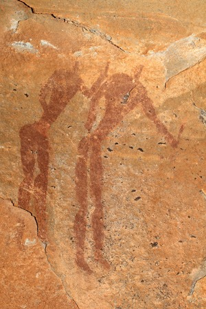 rock painting: Bushmen or san rock painting depicting human figures, Drakensberg mountains, South Africa