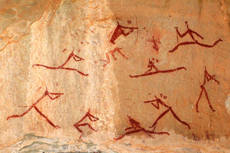 Bushmen - san - rock painting depicting human figures, Drakensberg mountains, South Africa photo