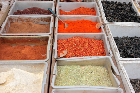 informal: Colorful spices displayed in an informal market, China