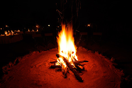 Outdoor wood campfire burning brightly during the darkness of nighttime photo