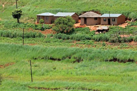 kwazulu natal: Small rural huts with cultivated lands, KwaZulu-Natal, South Africa Stock Photo