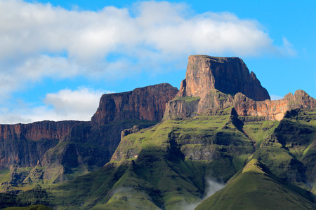 sentinel: Sentinel peak in the amphitheater of the Drakensberg mountains, Royal Natal National Park, South Africa