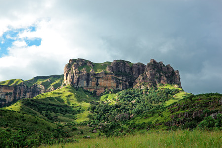 and south: Sandstone rock, Drakensberg mountains, South Africa Stock Photo