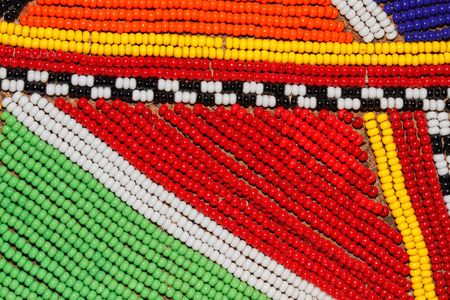 african fashion: Colorful African beads used as decoration by the Masai tribe in Kenya Stock Photo