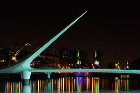 mujer: Bridge of the Woman  Puente De La Mujer  by night, Buenos Aires, Argentina Stock Photo