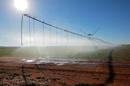 pivot: Center pivot crop irrigation system with water sprinklers  Stock Photo