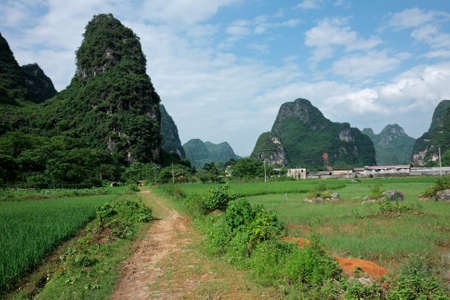 ravel: Landscape of rural China with rice fields and limestone mountains