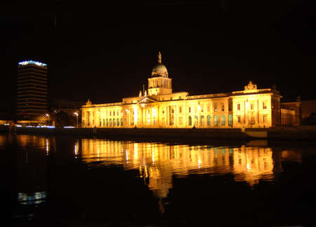 featured: Dublin City at Night with Custom House and river liffey featured