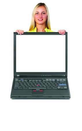 Laptop with message option Stockfoto