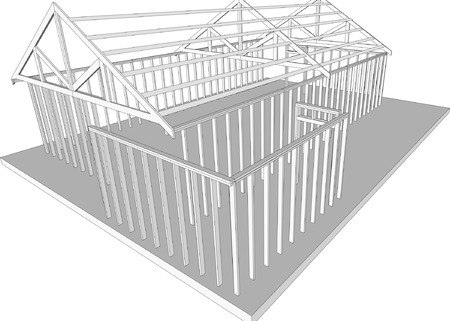 Semi-built detached home (Vector fully resizable and editable)