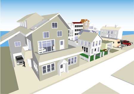 shop for animals: Town Scene Vector