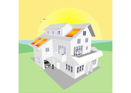 maison solaire: Accueil �nergie solaire (Vector image enti�rement modifiable et �ditable)