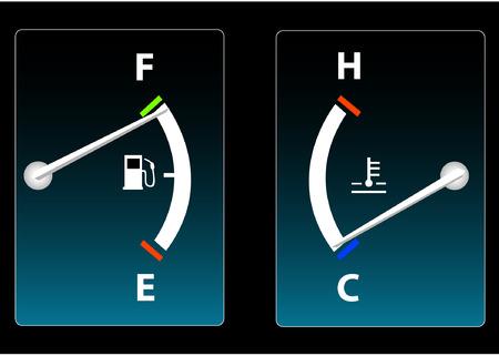 Fuel and Temperature Gauge Vector