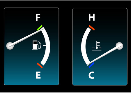 hot temperature: Fuel and Temperature Gauge Illustration
