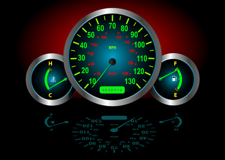 kilometre: Speedometer  Fuel  Temperature Guages (Vector image fully resizable and editable) Illustration
