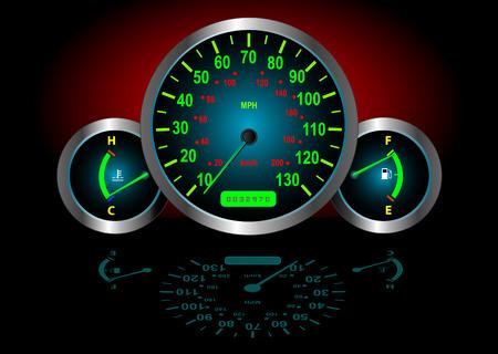 veloc�metro: Veloc�metro  combustible  temperatura Guages (Vector de imagen de tama�o y totalmente editable)