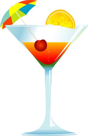Dressed cocktail with umbrella, cherry and orange slice. Stock Vector - 2986692
