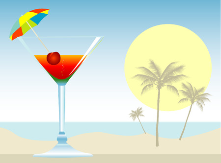alcohol screwdriver: Dressed cocktail with umbrella, cherry and orange slice.