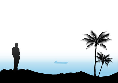 alone person: Palm Beach with Cargo ship in the background (Vector)
