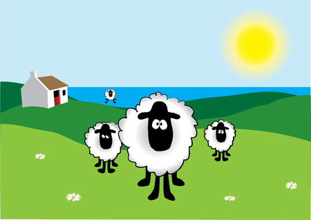 Sheep with Old Irish Cottage in the background Stock Vector - 2986790