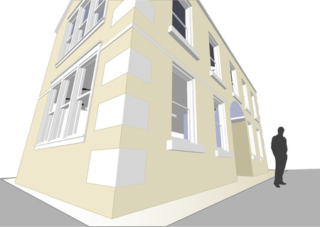 realización: Arquitecto de la Comunidad con varias viviendas y oficinas en formato vectorial. Todas las caracter�sticas de cada edificio, incluyendo puertas y ventanas se pueden editar o de color para adaptarse.