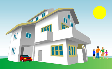 Dream Home Vector. Every feature of this building including doors and windows can be edited or colored to suit. Vector
