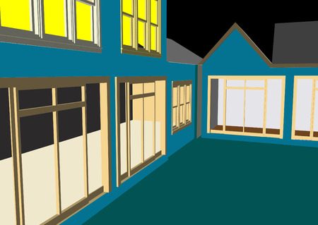 Architect's Home and offices in vector format. Every feature of each building including doors and windows can be edited or colored to suit. Stock Vector - 2986769