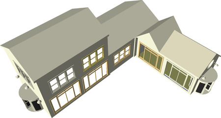 Architects plan featuring various dwellings and offices in vector format. Every feature of each building including doors and windows can be edited or colored to suit Vector