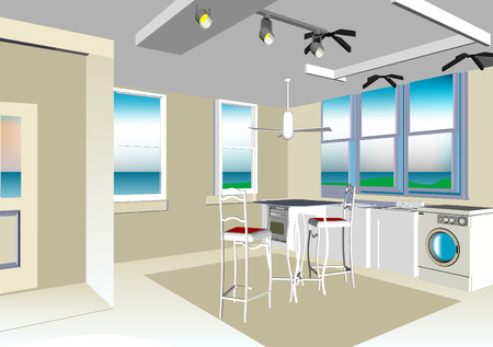 solar house: Interior Illustration
