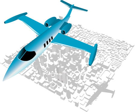 Executive City Jet over city backdrop Stock Vector - 3168870