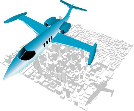 oorkonde: Executive stad Jet over stad achtergrond