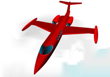 jetliner: Learjet in Red fully editable vector image