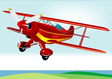 航空ショー: ベクトル複葉機 (高度) の詳細  イラスト・ベクター素材