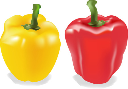 Yellow & Red Peppers Vector