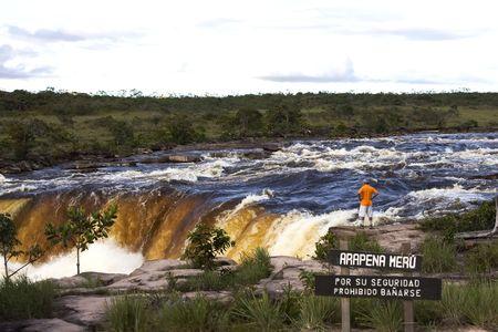 Salto Arapena Meru (Arapena Meru falls), La Gran Sabana, Canaima National Park, Estado Bol�var, Venezuela Stock Photo