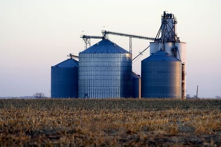 midwest: Corrugated steel grain elevator located in Logan County near Lincoln, Illinois in Midwest United States.