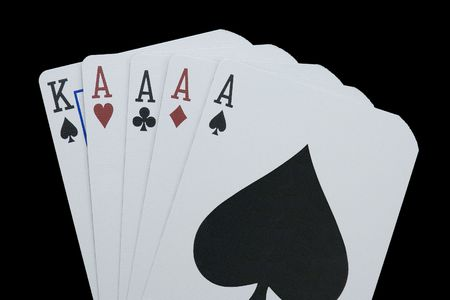 Poker Hand, Four of a Kind, Four Aces and a King. Stock Photo - 684587