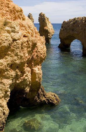 Rock formations at Ponta da Piedade, near Lagos, Portugal in the Algarve. Stock Photo