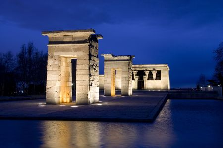 The Temple of Debod (Templo de Debod) is an ancient Egyptian temple which has been rebuilt in Madrid, Spain.