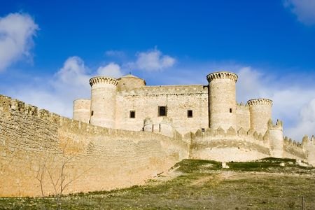 Belmonte Castle (Castillo de Belmonte) in Belmonte, Cuenca province, Castilla La Mancha, Spain.  Located approximately 150km southeast of Madrid, this fortress-palace from the 15th century is decorated in gothic-mudejar style and is one of the best preser