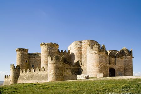 15th century: Belmonte Castle (Castillo de Belmonte) in Belmonte, Cuenca province, Castilla La Mancha, Spain.  Located approximately 150km southeast of Madrid, this fortress-palace from the 15th century, it is the best preserved castle in the Community of Madrid
