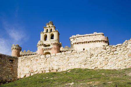 castilla leon: Turegano Castle (Castillo de Turegano) in Segovia province, Castilla Leon, central Spain. Stock Photo
